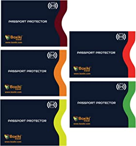 RFID Blocking Passport Sleeves, Set with Color Coding. Identity Theft Prevention RFID Blocking Envelopes (Set of 5 Passport Holders)