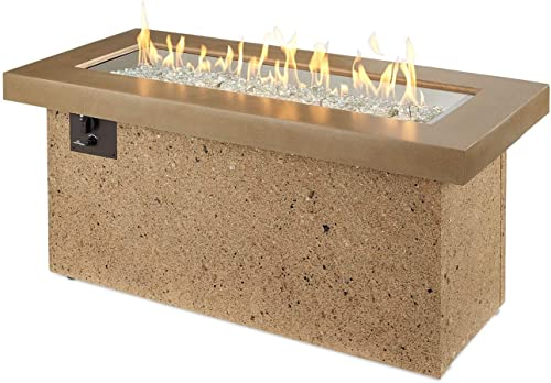 Outdoor Great Room Key Largo Crystal Fire Pit with Brown Supercast Top and Serengeti Base