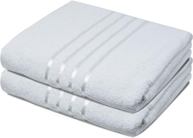 Toallas de baño Towelogy® 100% algodón egipcio orgánico Jumbo grande extra absorbente juego de toallas de baño 500 g/m² (blanco, paquete de 2): Amazon.es: Hogar