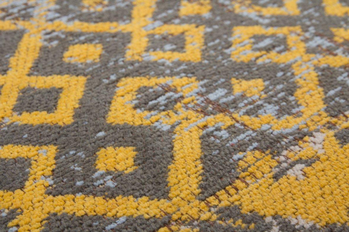 One One One Couture Teppiche Flachflor Retro Patchwork Look Jacquard Muster Kasten Design Gold, Größe 200cm x 290cm B07JMLZ2GJ Teppiche e061ac
