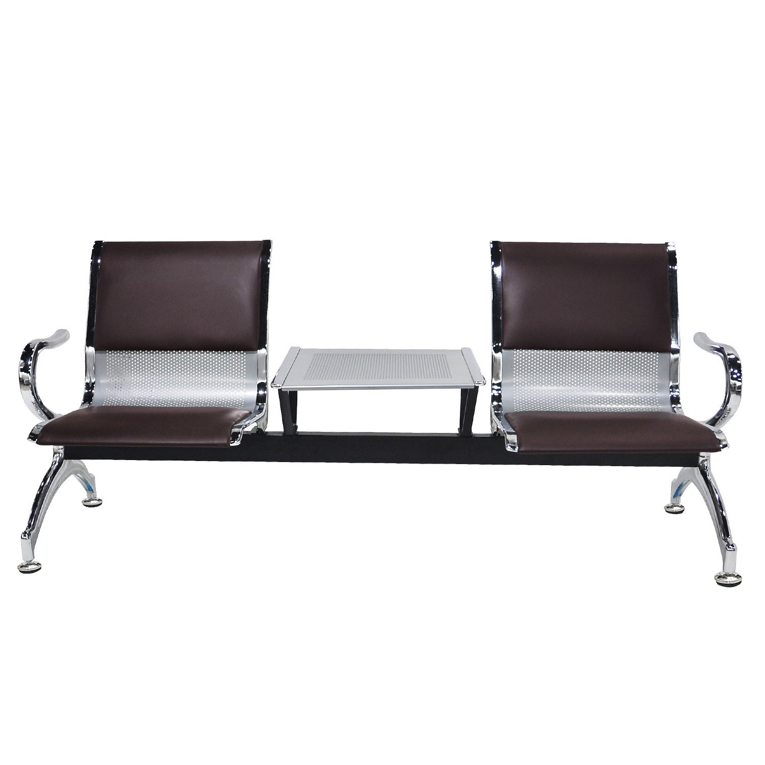 BORELAX New PU Leather Airport Reception Waiting Chair Office Hall Bank Hospital Bench Furniture 2-Seat w/ Table