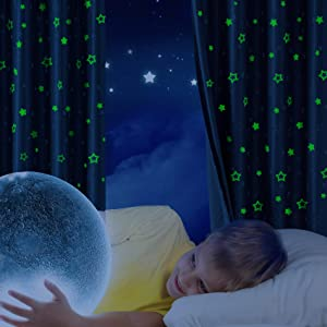 Hughapy Glow in The Dark Curtains Twinkle Star Blackout Curtains for Kid's Bedroom - Grommet Thermal Insulated Room Darkening Curtains Romantic Starry Theme Window Curtains, 2 Panels (52W x 84L, Navy)