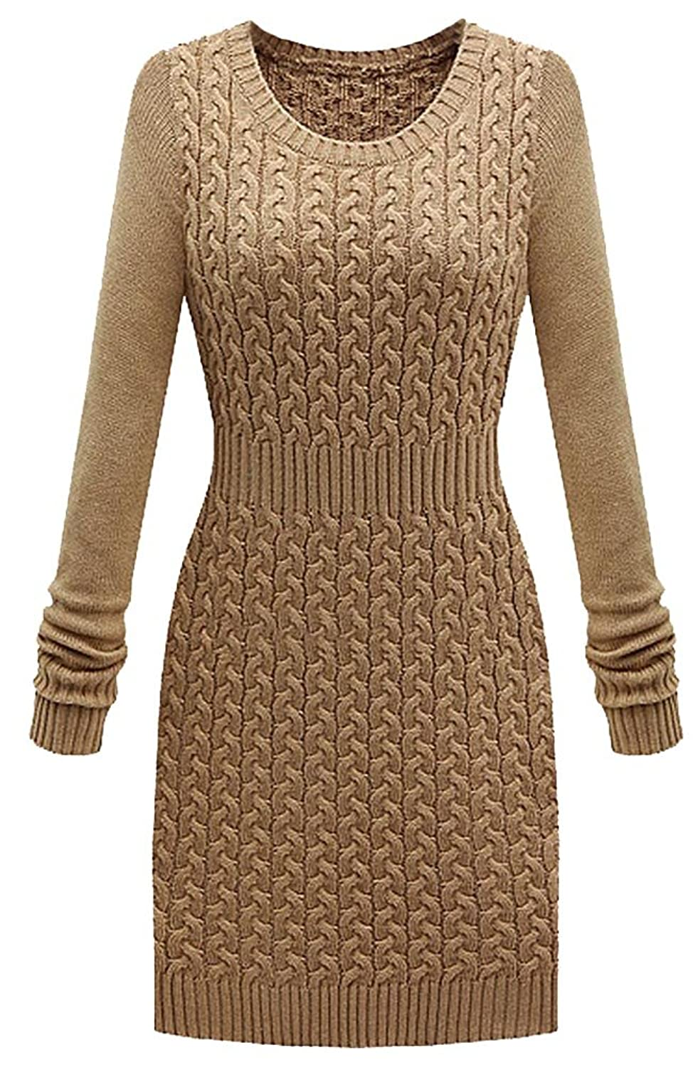 Kufv@Womens Long Sleeve Bodycon Pencil Knitted Sweater Basic Mini Dress
