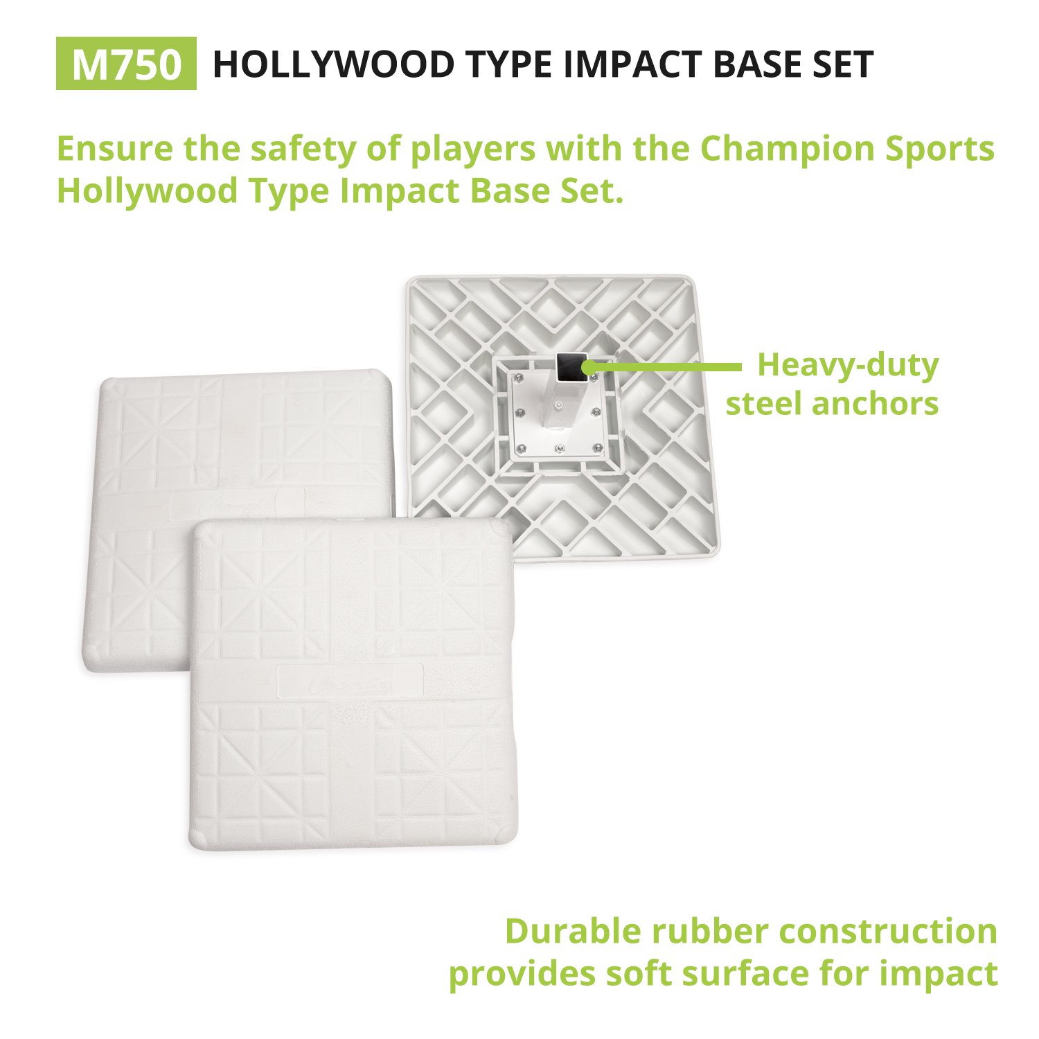 Champion Sports Impact Baseball Bases: Hollywood Type Safety Collapsible Bases with Anchor Plug - Sports Equipment Bags for Youth Baseball & Softball by Champion Sports (Image #2)