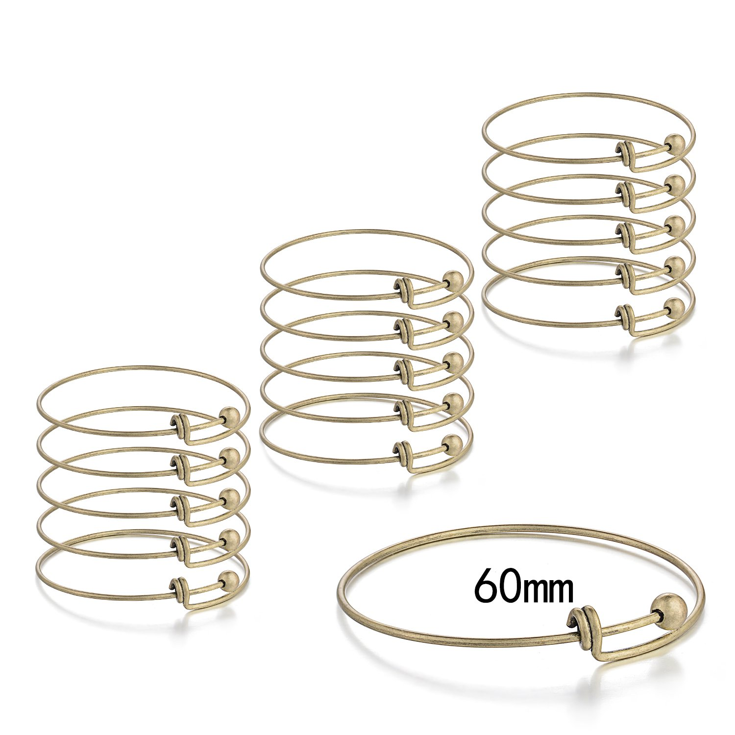 JEWMAY Adjustable Wire Blank Bangle Bracelet for Womens DIY Jewelry Making,2.4 Inch,Antique Brass,15 pcs/pack
