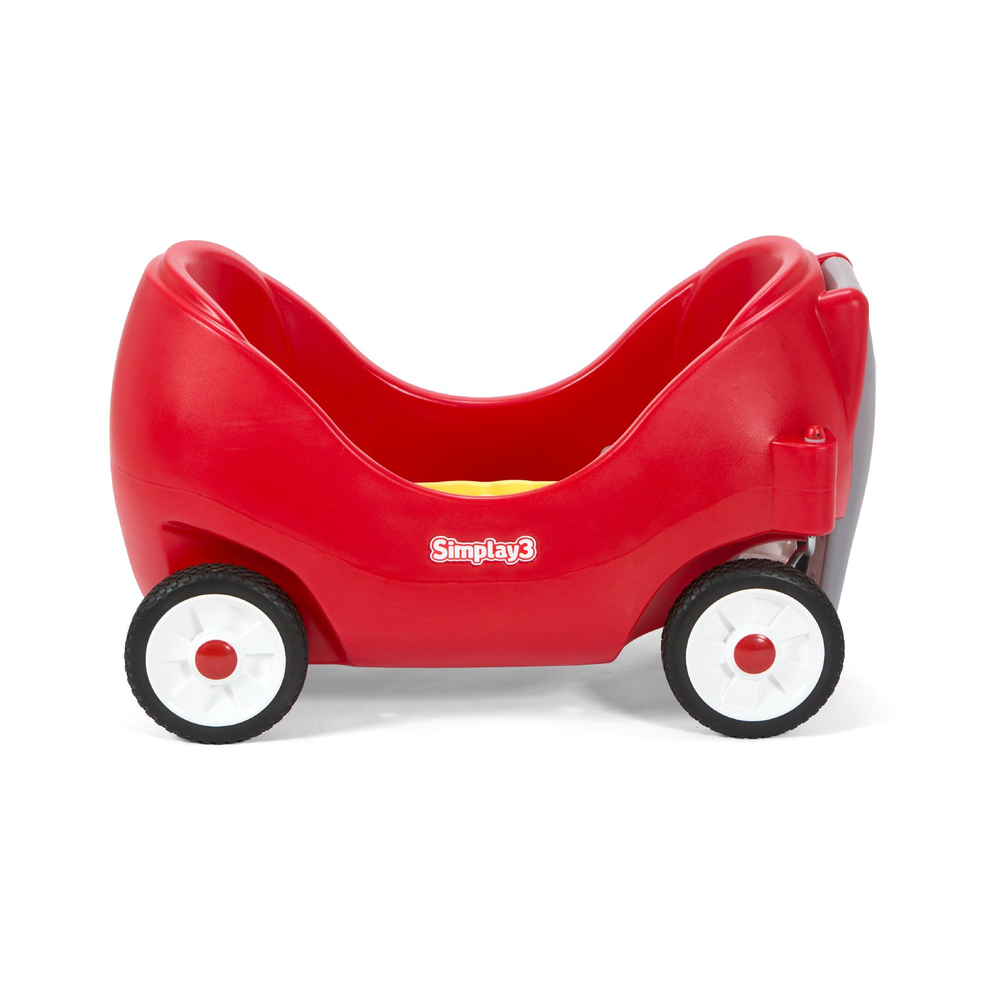 Simplay3 Toddler Wagon with Two High Back Seats, Cupholders, and Seatbelts - Red