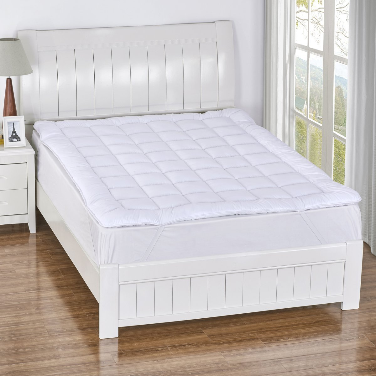 mattress topper bed pad cover hypoallergenic soft pillow top soft thick 2 queen 825624627392 ebay. Black Bedroom Furniture Sets. Home Design Ideas