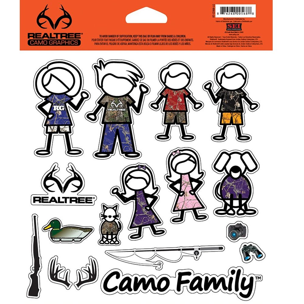 Stick People Family Realtree Camo Graphics Camouflage Brand Auto Car Truck SUV Vehicle Garage Home Office School Decal Set 28pc Camo Family