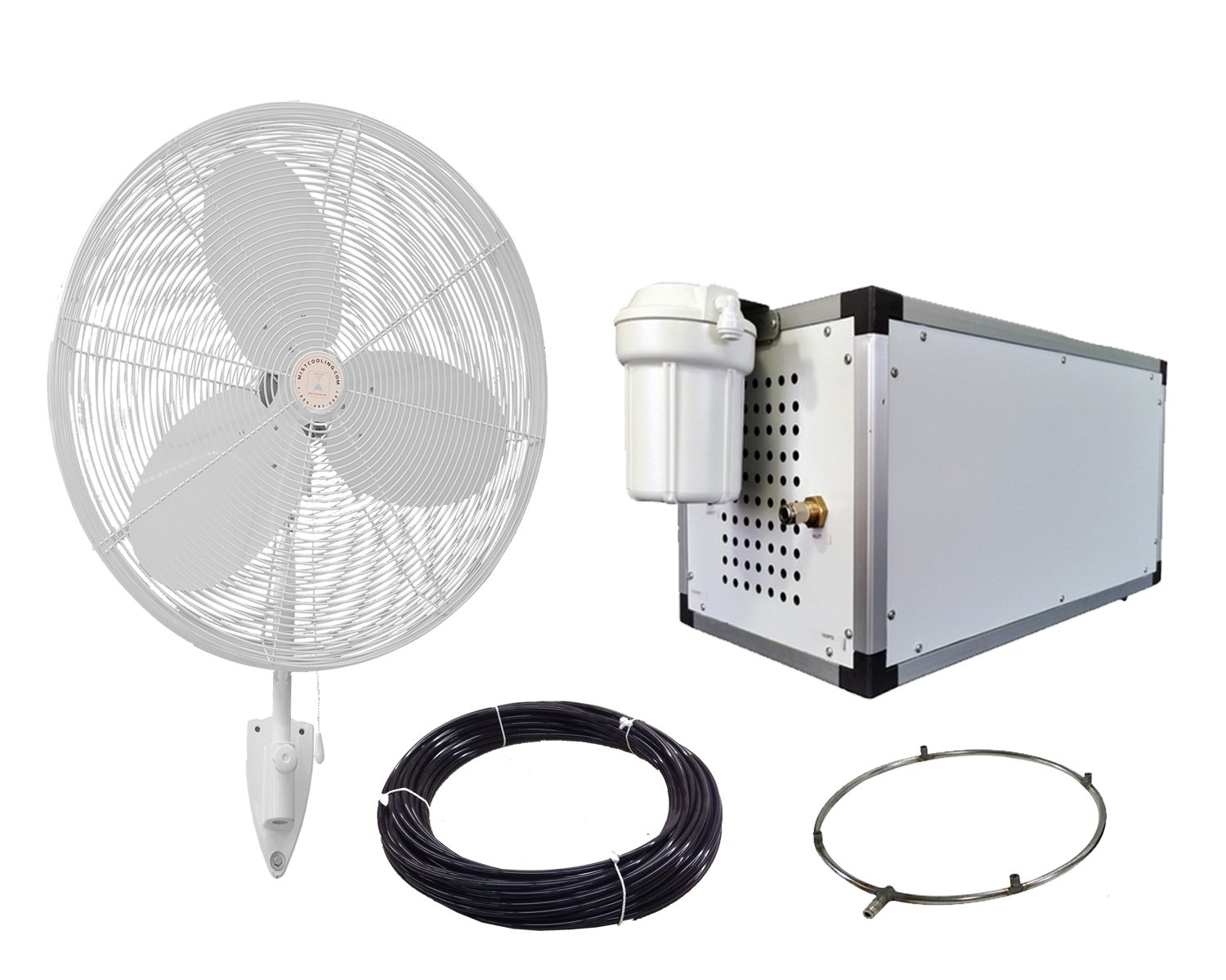 24'' OSC Misting Fan Kit - High Pressure 1500 PSI Misting Pump - Stainless Steel Misting Ring - For Warehouse Cooling, Industrial Misting, Restaurant Cooling (8 Fans White Color-Requires Larger Pump)