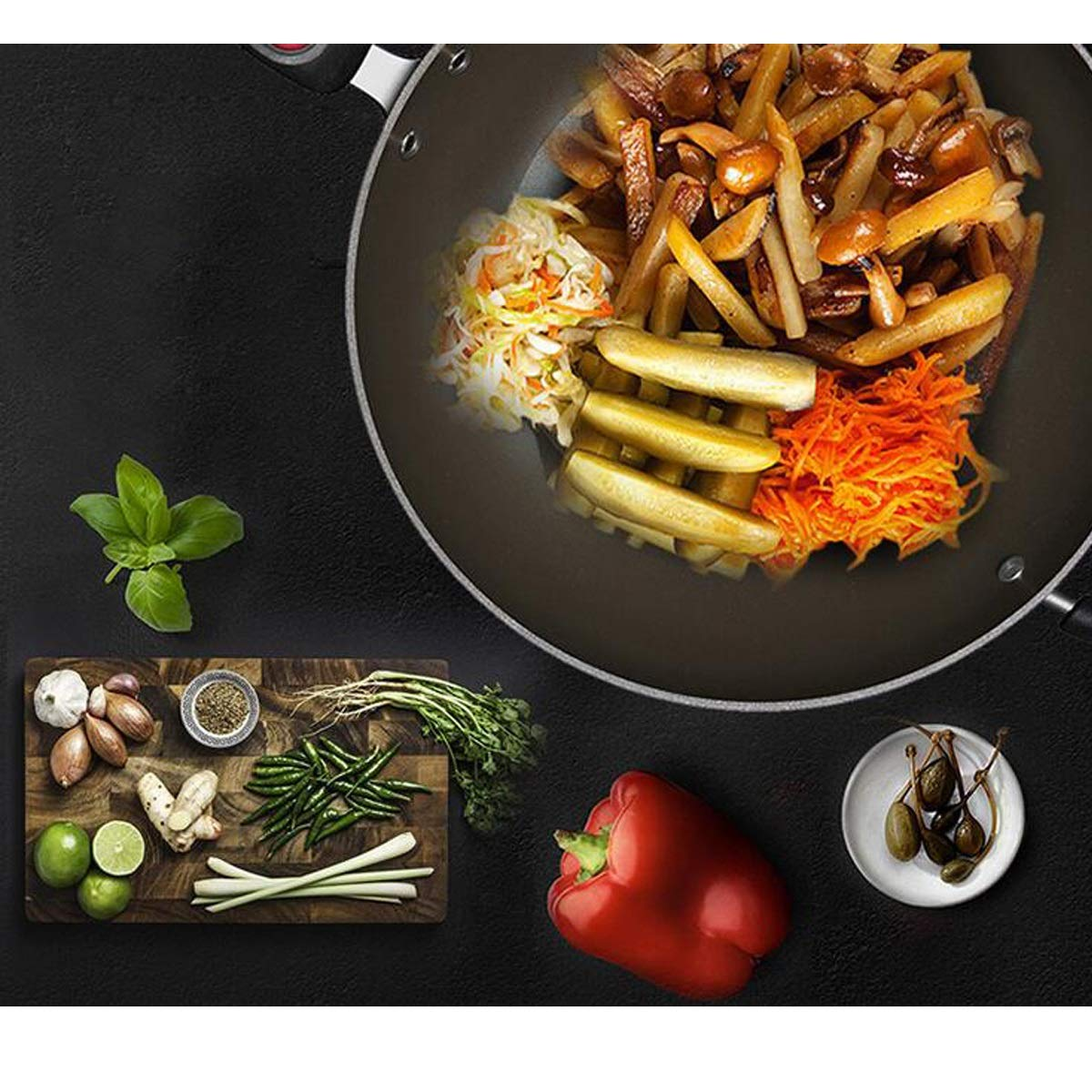 Cooking Pot, Flaming Point Is Not Sticky, No Oil Fume Wok, Open Flame Cover For Open Flame, Diameter 32cm (Color : Black-A, Size : 32CM) by TONGBOSHI (Image #3)