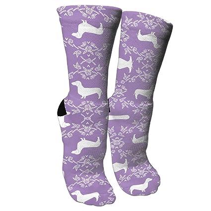 5dc837cb9 Amazon.com  Dachshund Floral Dog Purple Athletic Tube Stockings Women s  Men s Classics Knee High Socks Sport Long Sock One Size  Sports   Outdoors