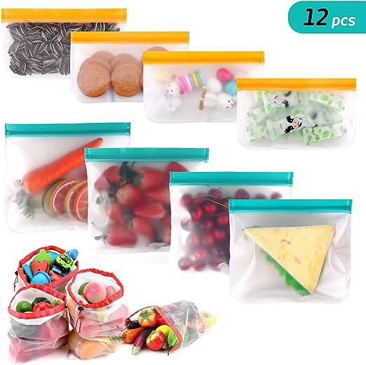 12Pcs Reusable Silicone Food Storage Bag Ziplock Seal Leakproof Produce Bags Kit