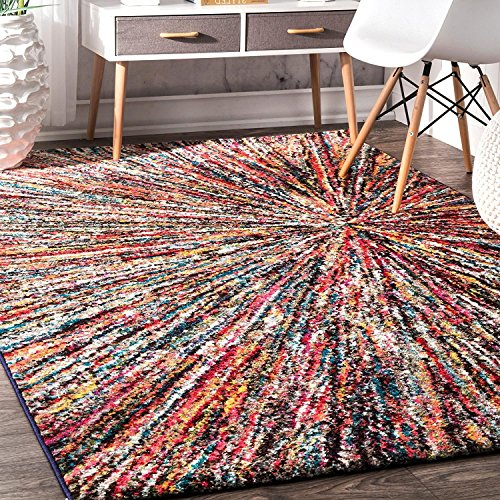 4'1 x 6' Rainbow Firework Color Kids Area Rug, Retro Flair Polypropylene Bohemian Hippy Explosive Soft Plush Colorful Casual Striped Indoor Living Room Attractive Accent Carpet - Casual Striped Rug