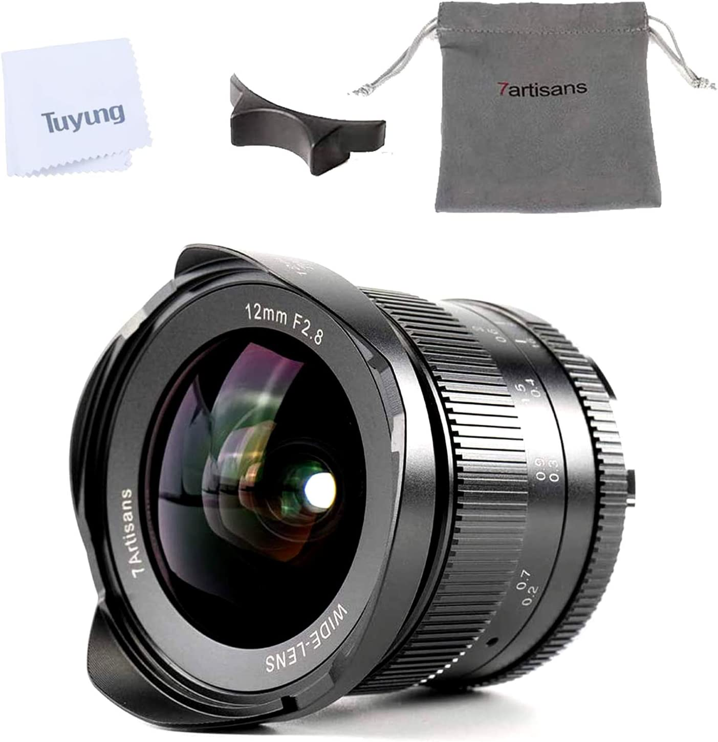 Manual Focus Prime Fixed Lens and TUYUNG Cloth 7artisans 12mm F2.8 Ultra Wide Angle Lens for Fujifilm FX Mount Mirrorless Camera