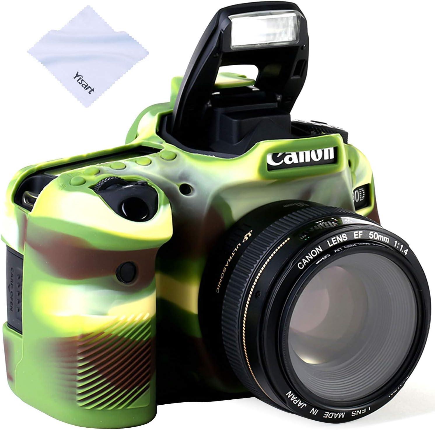 Yisau 90D Camera Case Professional Silicone Camera Case for Canon EOS 90D Camera Canon Rebel EOS 90D Camera Beautiful Companion (ArmyGreen)