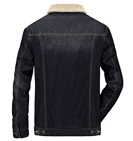 8ddfd88b6bde Wintie Men s Slim Fit Rugged Sherpa Cotton Lined Denim Trucker Jackets Coats  at Amazon Men s Clothing store