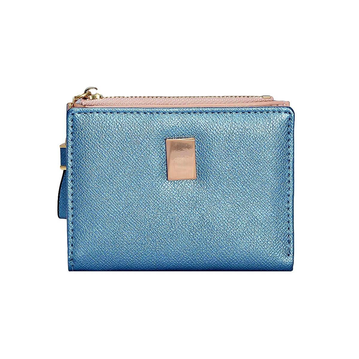 Damara Womens Fashion Short Faux Leather Bifold Zipper Wallet,Blue