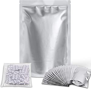 Ztalee 50 Packs 1 Gallon Mylar Bags (Extra Thick 9.4 Mil, 14''x10'') Vacuum Resealable Ziplock Mylar Aluminum Foil Bags with 300cc Food Grade Oxygen Absorbers Packets for Long Term Food Storage