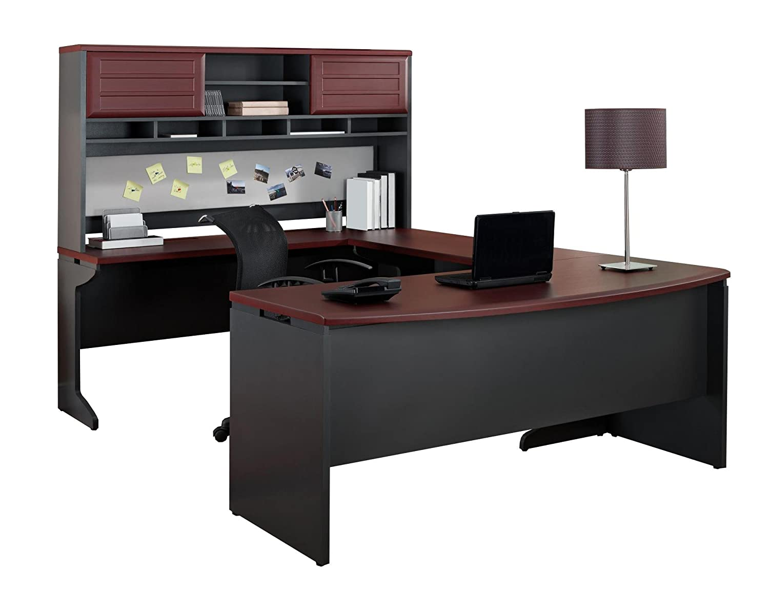 u desk grey in and hutch deep with pro p concept black plus