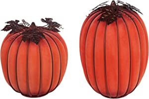 Evergreen Garden Beautiful Decorative Seasonal Orange Mist LED Battery Operated Glass Pumpkin Garden Statue, Set of 2-9 x 9 x 12 Inches Fade and Weather Resistant Indoor/Outdoor Decoration