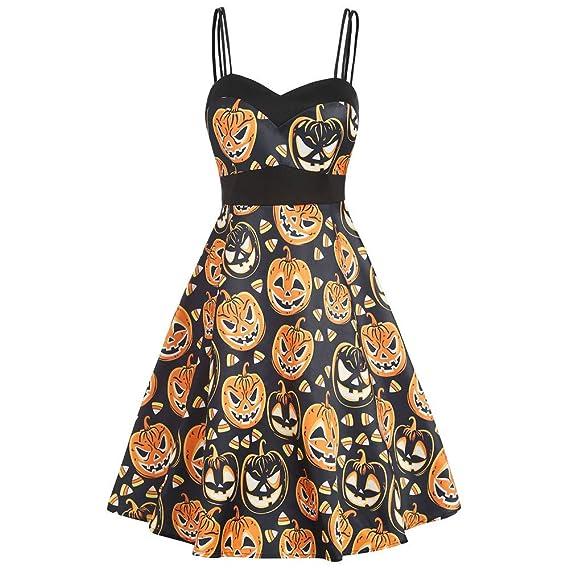 Vestidos Mujer Víspera Halloween Impresión de Calabaza Sin Mangas ...
