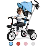 Toddler Tricycle Stroller Trike with Parent Handle for Children 1-5 Years Old, Giant Baby/Boy/Girl Beginner Bike 4 in 1…