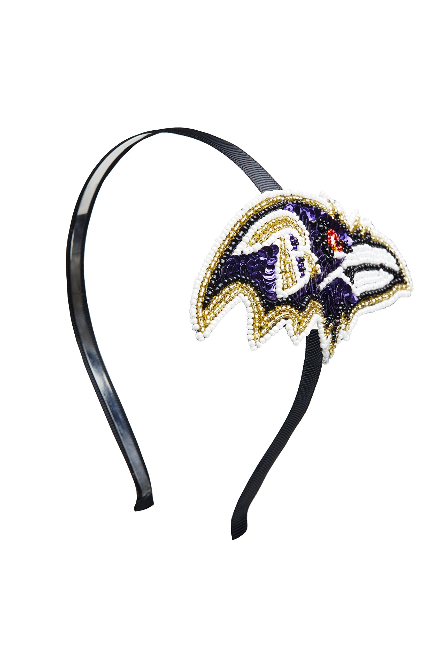 aminco NFL Baltimore Ravens The Grace Collection Sequins and Beads Horseshoe Hairband, Purple by aminco
