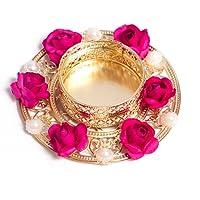 Slings Handcrafted Flower Design Decorative Metallic Diwali Diya Lights Tea Lights Candle Holder (Set of2)