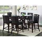 Furniture of America Ollivander 7-Piece Counter Height Glass Top Dining Table Set - Dark Walnut