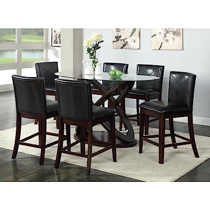 Bon Furniture Of America Ollivander 7 Piece Counter Height Glass Top Dining Table  Set   Dark