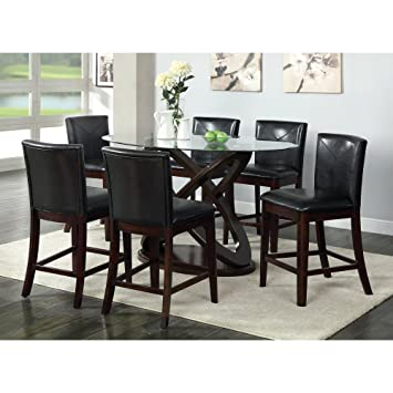 Furniture Of America Ollivander 7 Piece Counter Height Glass Top Dining  Table Set   Dark