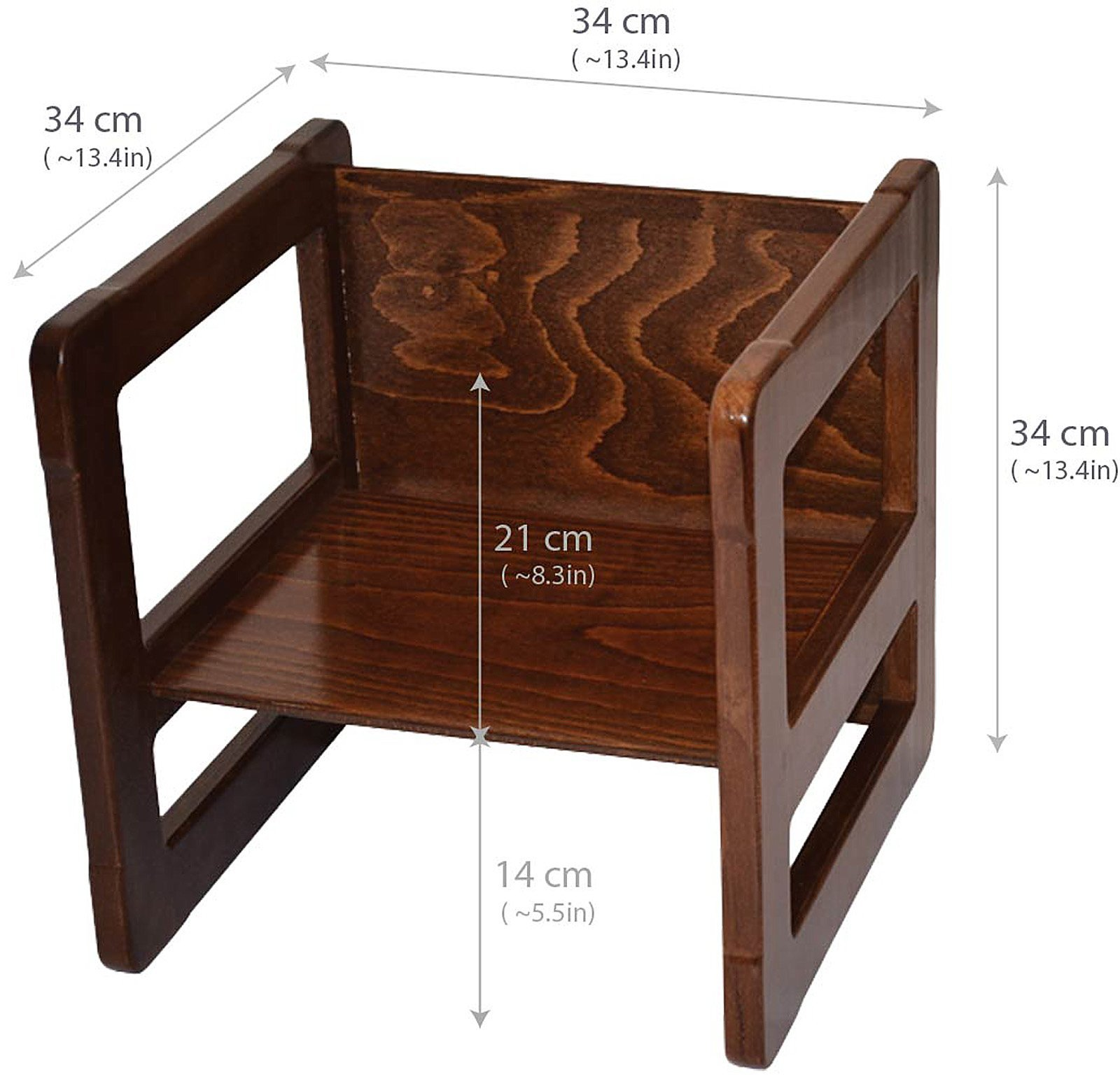 3 in 1 Childrens Multifunctional Furniture Set of 2, One Small Chair or Table and One Large Chair or Table Beech Wood, Dark Stained by Obique Ltd (Image #2)