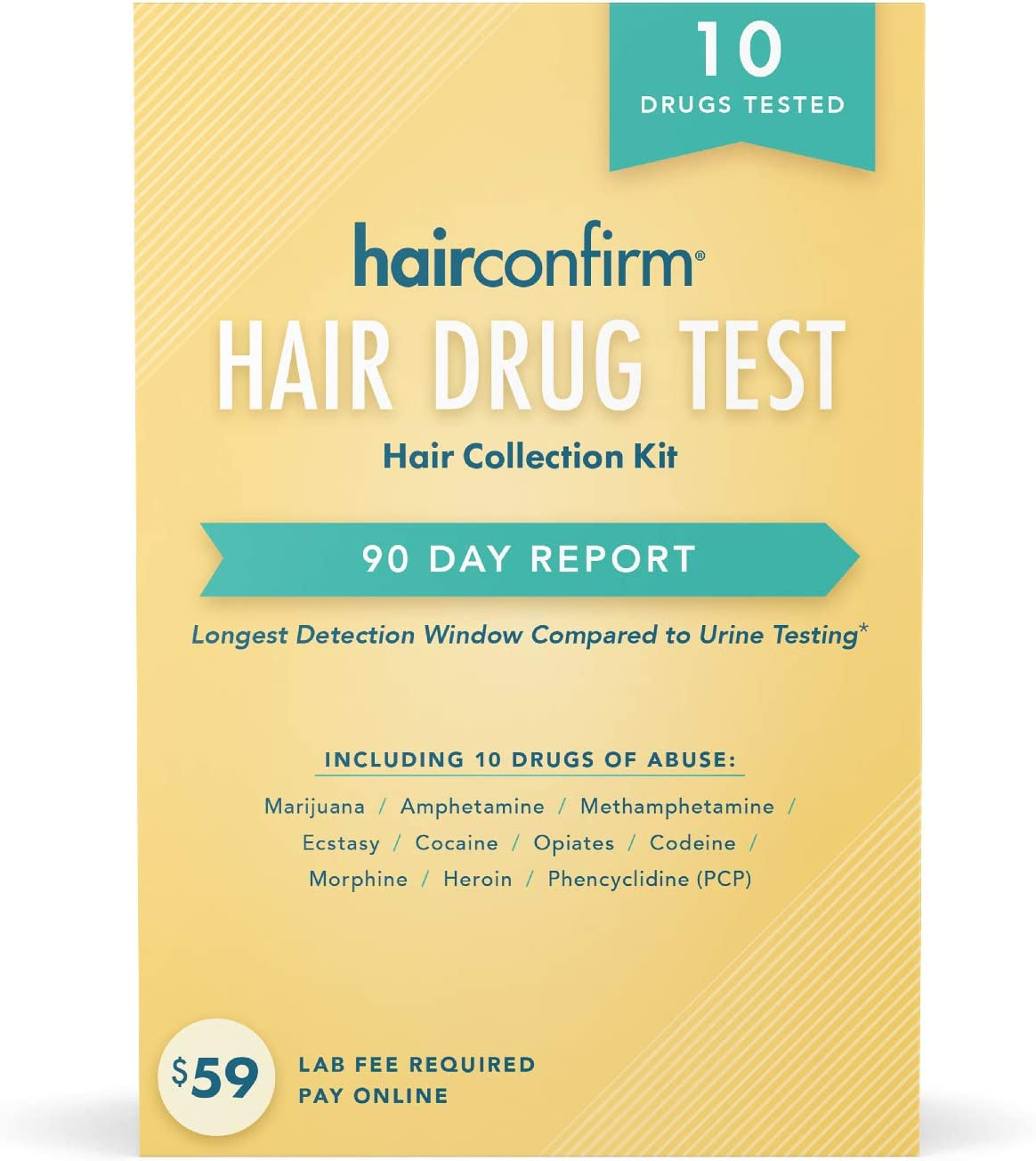 HairConfirm 10 Panel Hair Drug Test Collection Kit Only, 90 Day Detection Additional Lab Fee Required (10 Drugs Tested)