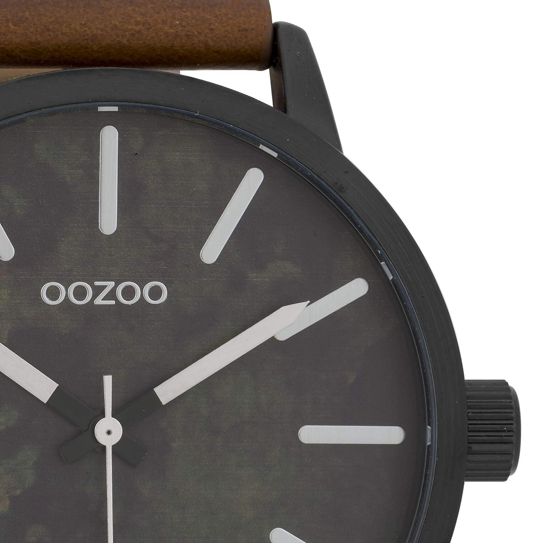 Stor Oozoo herrklocka med Paint Look urtavla och läderband 45 mm Schwarz/Dunkelbraun - C9601