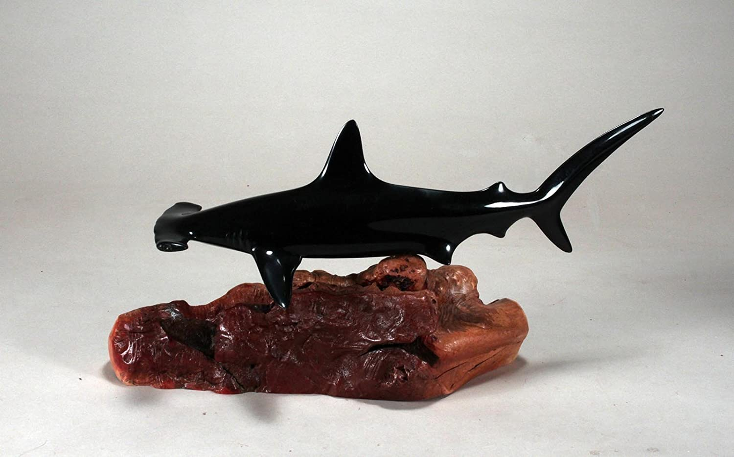 "HAMMERHEAD SHARK Sculpture by JOHN PERRY""Ebonite"" 12in long Statue Decor Art"