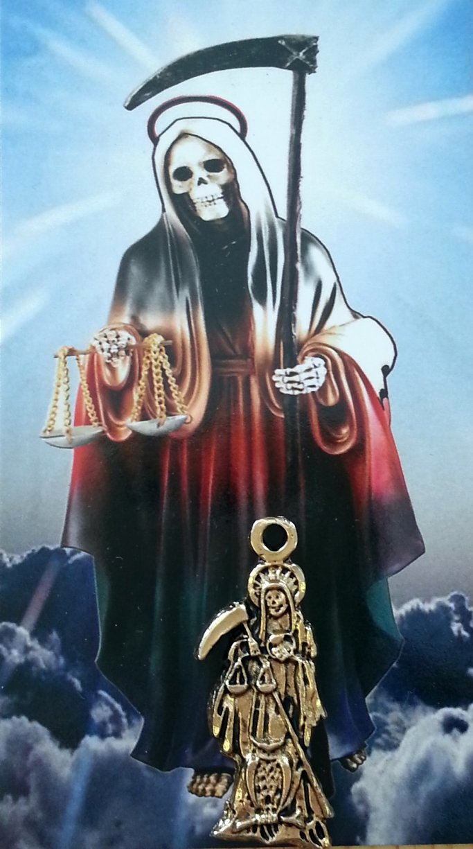 Holy Death Charm with Prayer Card in Spanish  Dije De La