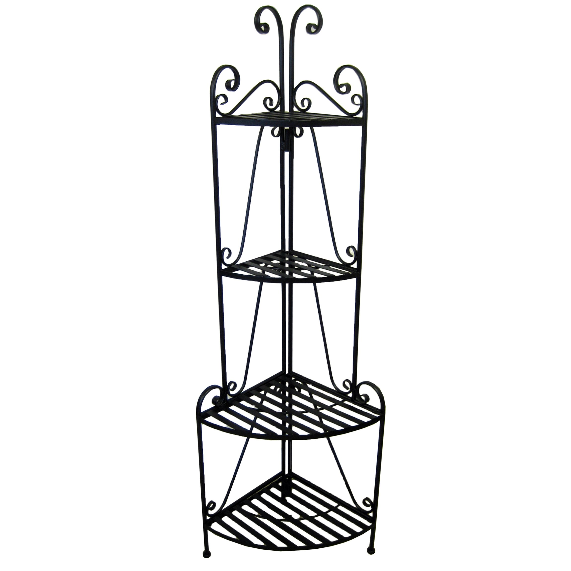 Pangaea Home and Garden Folding Corner Bakers Rack Four Shelves - Black by Pangaea Home and Garden