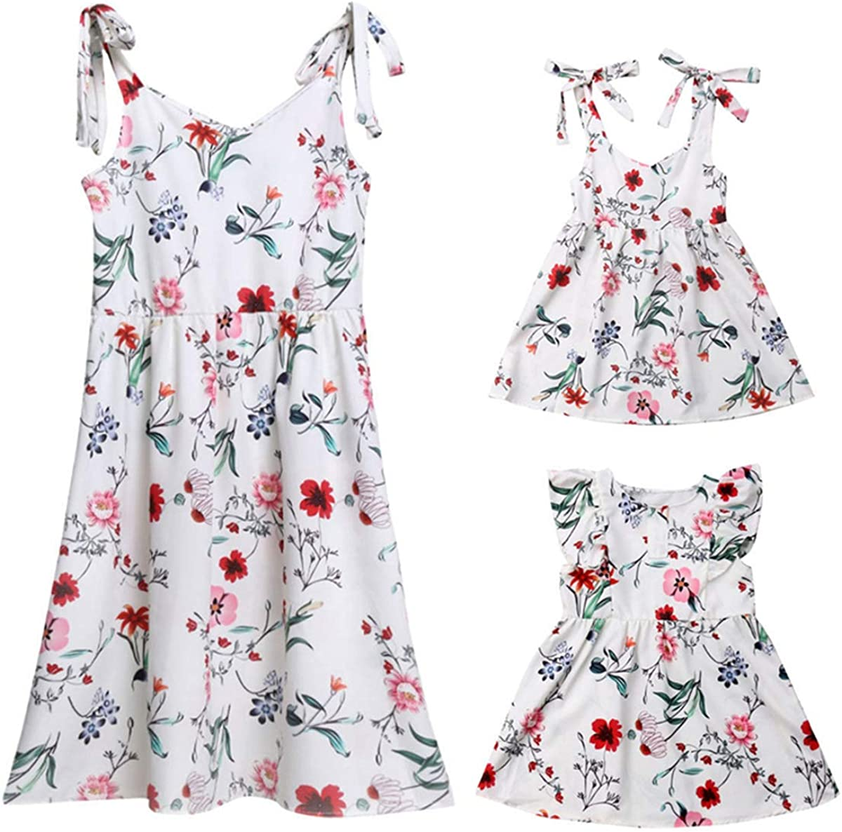 Mommy and Me Floral Printed Shoulder-Straps Dresses Summer Floral Sundress Swing Family Matching Beach Dress