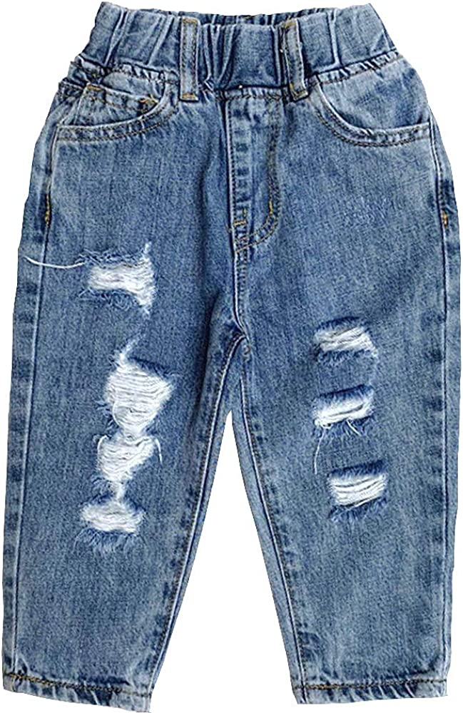 Kidscool Space Toddler Irregular Ripped Holes Decore Classic Jeans