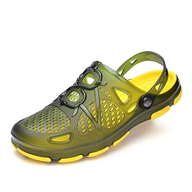 ceabc7d3c6ae11 Rainrop Men Garden Shoes Summer Breathable mesh Slippers Adjustable Straps  Beach Water Sandal Pool Shoes Green