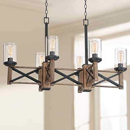 McBride Wood Grain Linear Island Pendant Chandelier 40 1 4 Wide Rustic Farmhouse Clear Glass Cylinder 6-Light Fixture for Kitchen Island Dining Room – Franklin Iron Works