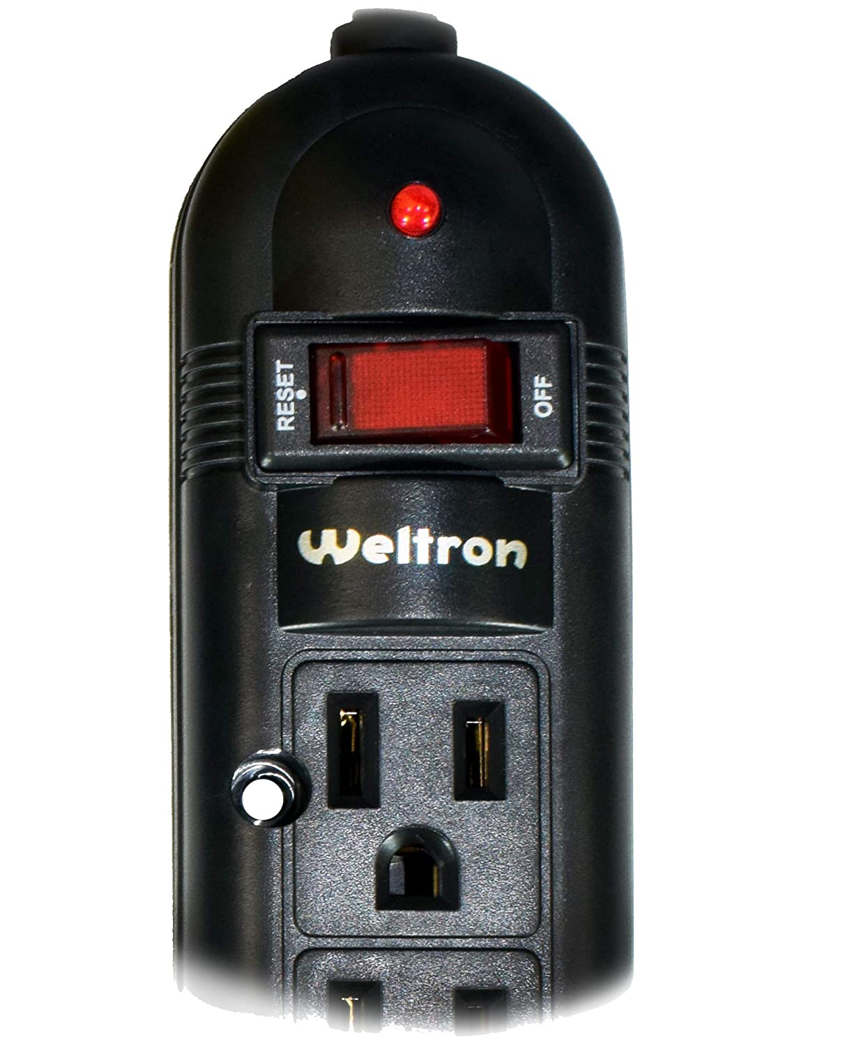 Weltron 6 Outlet Black Surge Protector Power Strip Wall Mount Long 20 Foot Cord Cable Winston International Ltd WSP-600PLF-20BK 750 Joules