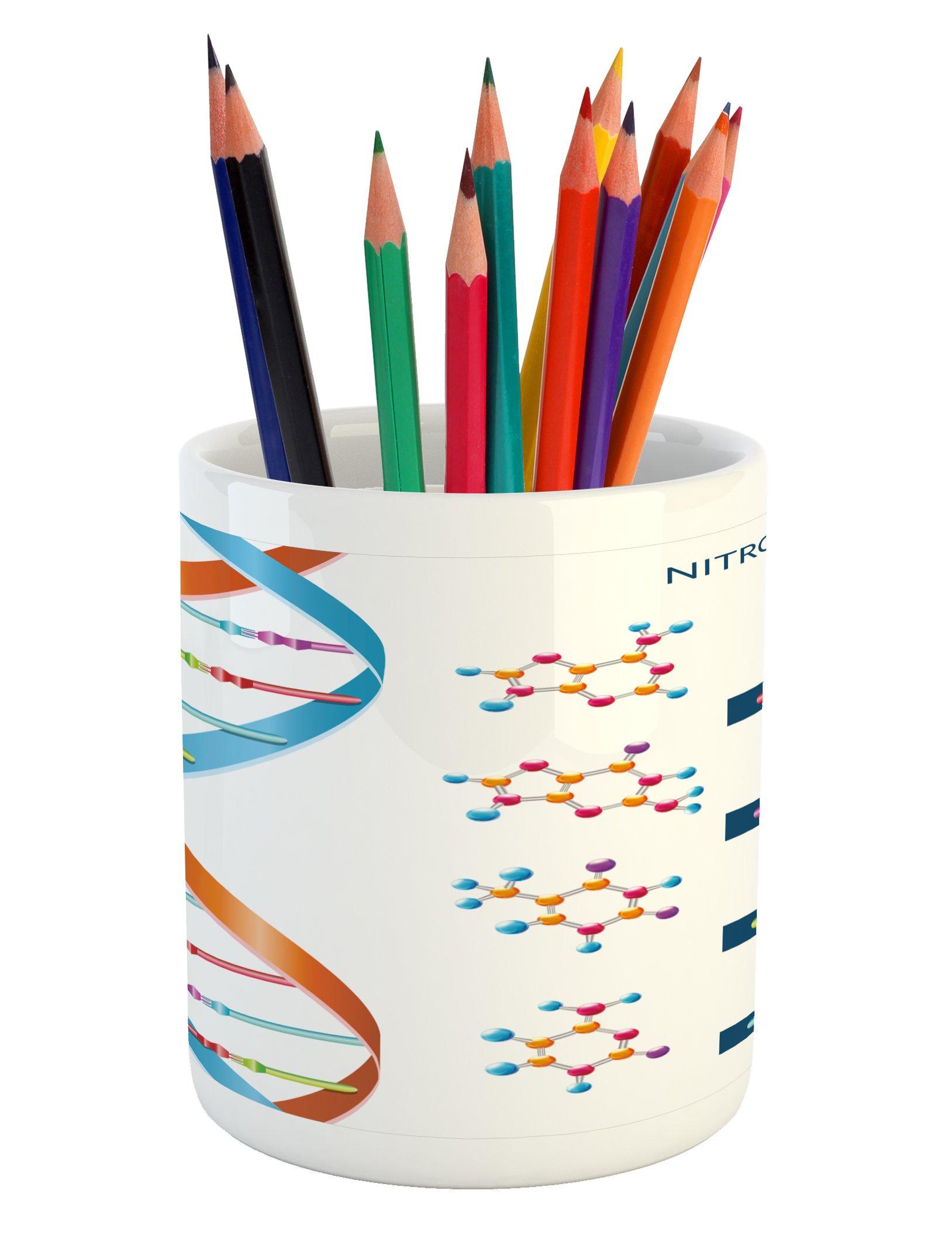 Ambesonne Educational Pencil Pen Holder, DNA Bases Chemistry Biochemistry Biotechnology Science Spiral Symbol Genetic, Printed Ceramic Pencil Pen Holder for Desk Office Accessory, Multicolor