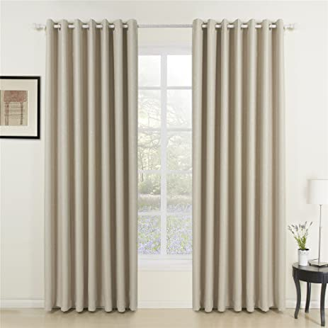 IYUEGO Wide Curtains 120Inch 300Inch For Large Windows Classic Ivory Solid  Grommet Top Blackout Curtains