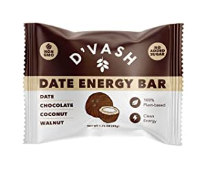 Date Chocolate Coconut Walnut Energy Date Bars - 6 Pack, 100% Organic Dates, No Added Sugar, Paleo, Non-GMO, Kosher