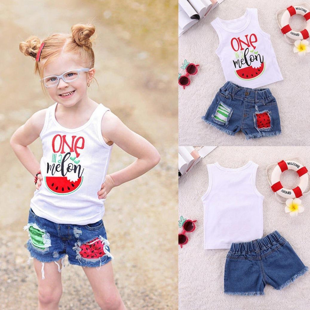Fossen Ropa Bebe Ni/ña Verano Camiseta de Garland con Carta y Vaqueros Corto de Girasol para Recien Nacido 1-4 a/ños