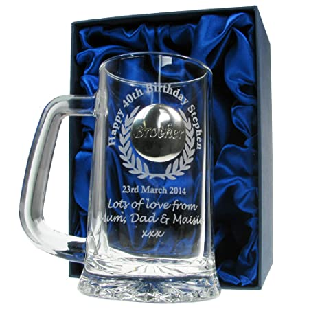Mens 40th Birthday Gift Engraved Pint Glass Tankard With Solid Pewter Brother