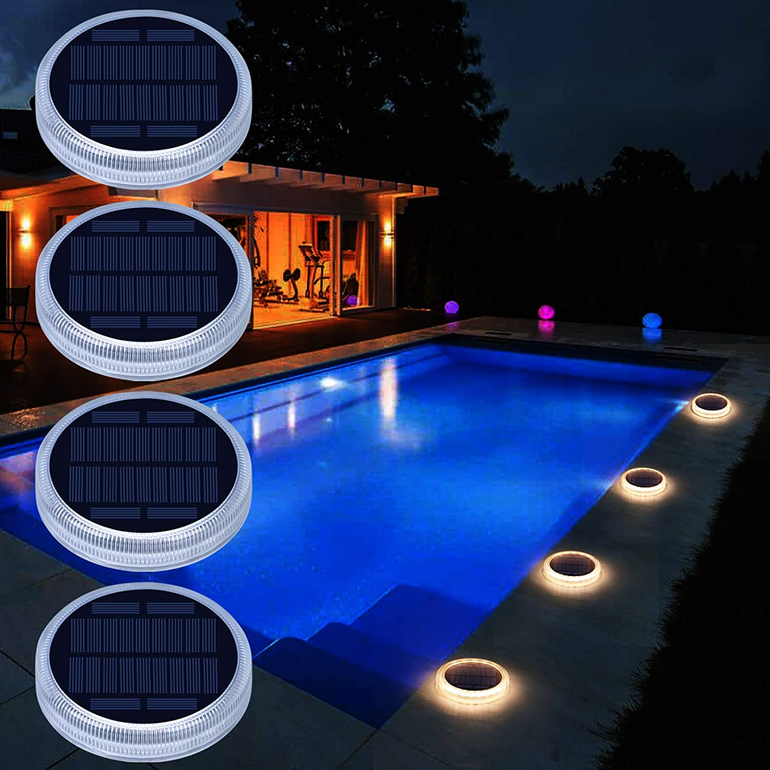 Solar Deck Lights, Driveway Walkway Dock Light Solar Powered Outdoor Waterproof Stair Step Pathway Ground LED Lamp for Backyard Patio Garden, auto On/Off - Warm White - 4 Pack