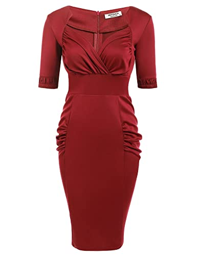 HOTOUCH Women's Vintage V-Neck Half Sleeve Draped Bodycon Pencil Dress