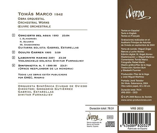 Tomás Marco: Obra Orquestal: Gutierrez; Gregorio, Marco: Amazon.es: Música